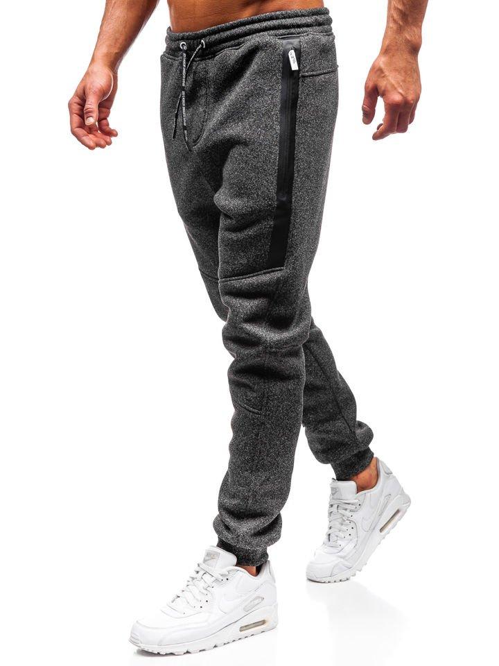 low priced a0cbc ea97b Men s Jogger Sweatpants Black-White Bolf Q3867 ...