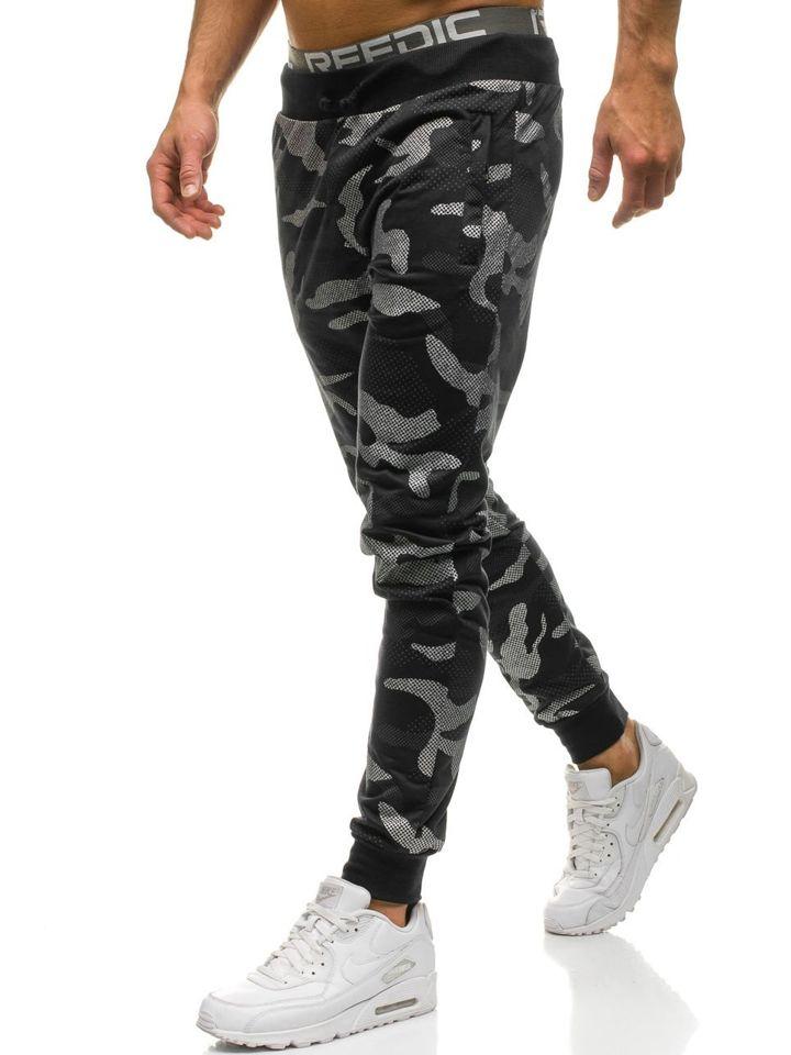 c363aefc6dd58 Men's Jogger Sweatpants Camo-Black Bolf ML222 BLACK