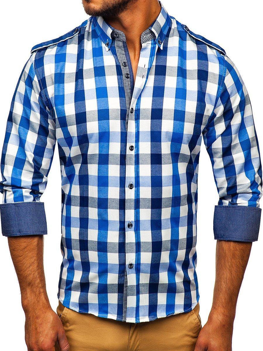 FLCH+YIGE Men Fashion Color Block Pattern Long Sleeves Button Down Shirt