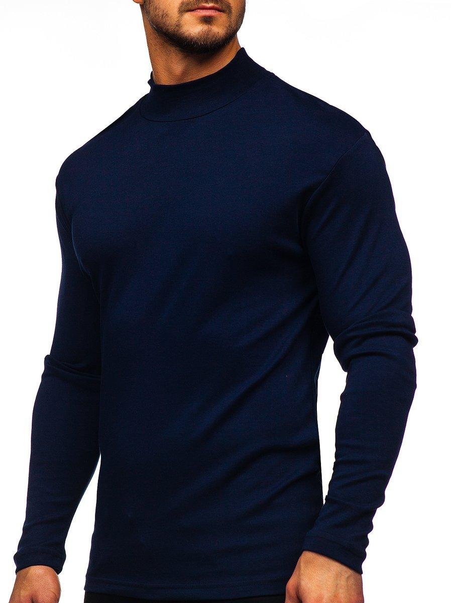 b8b69ec07 Men's Plain Half Polo Neck Navy Blue Bolf 145348 NAVY BLUE