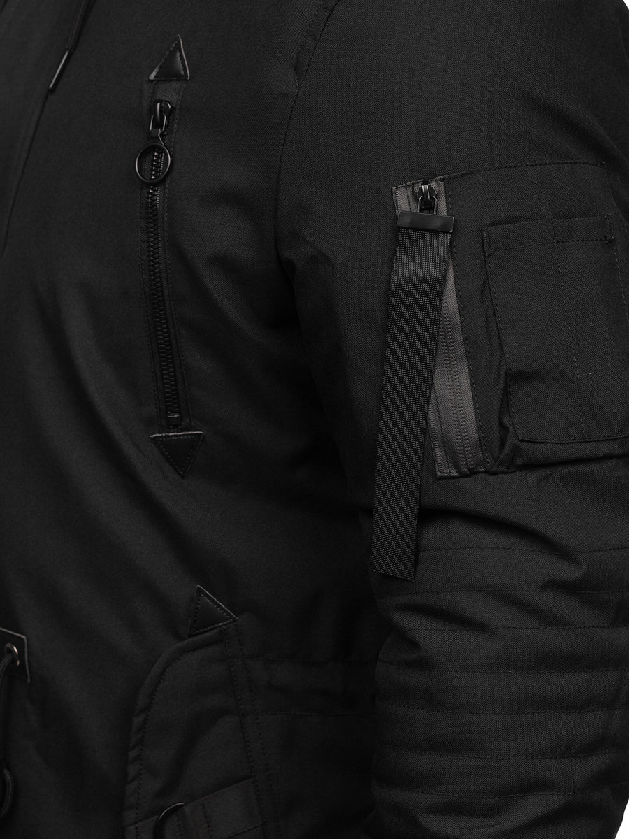 Mens Black Parka Coat