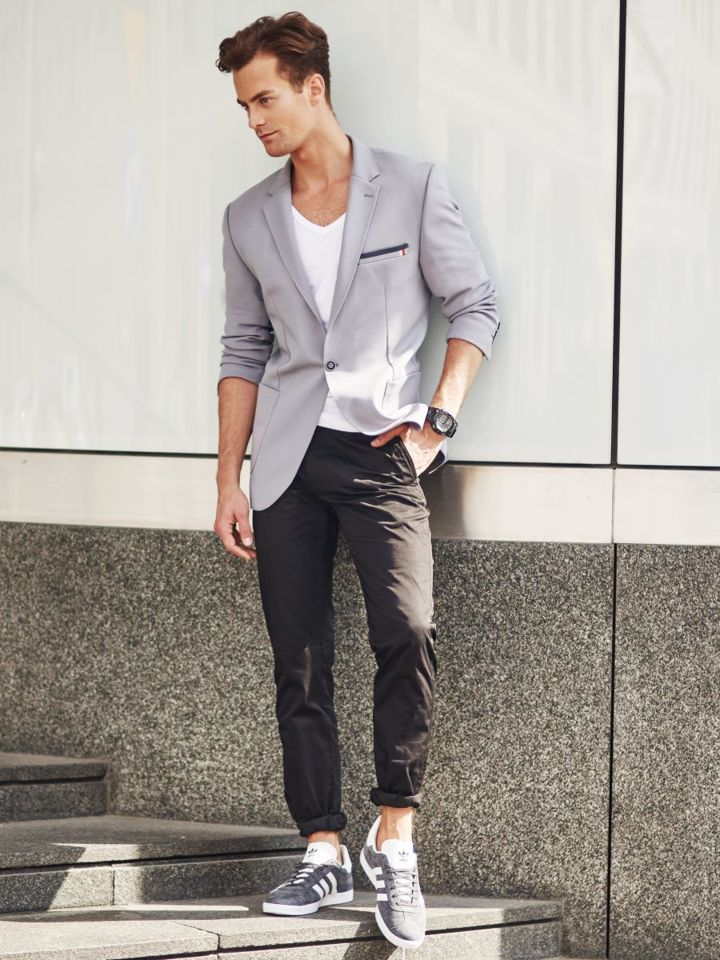 Outfit No. 304 , Watch, Elegant Suit Jacket, Plain T,shirt, Chino Trousers