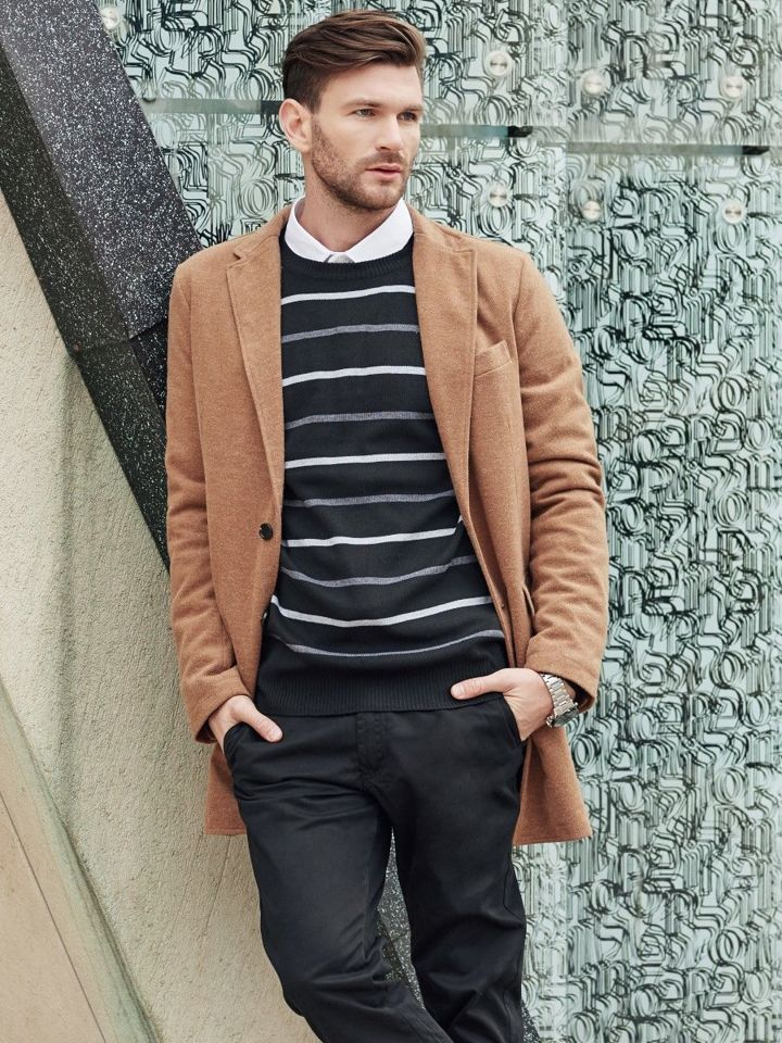 Outfit No 344 Winter Coat Jumper Elegant Shirt Chino Trousers
