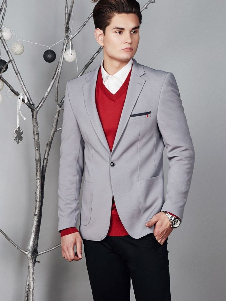 Outfit No 373 Elegant Blazer V Neck Jumper Shirt Chino Trousers