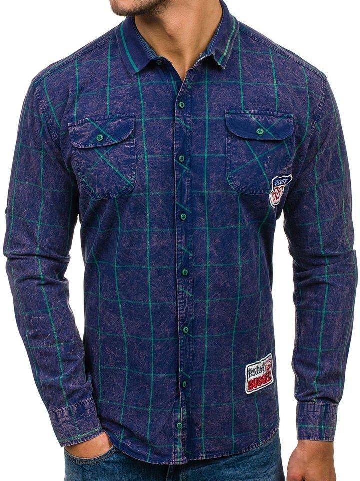 Navy Blue-Green Men's Checked Long Sleeve Shirt Bolf 2506