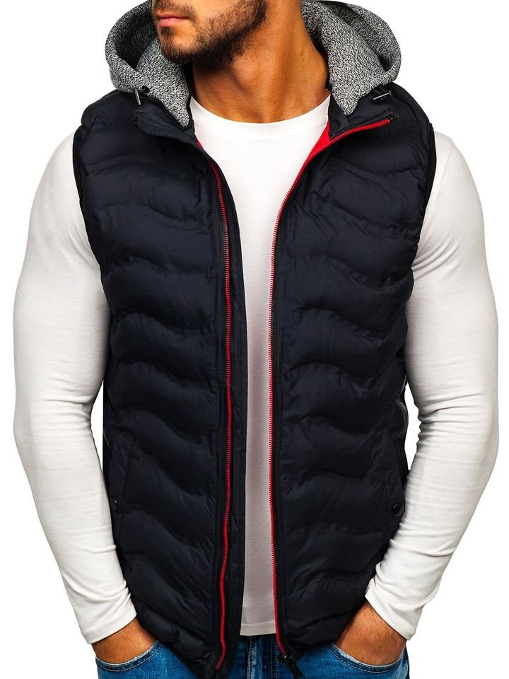 Men's Quilted Gilet Navy Blue Bolf 5801