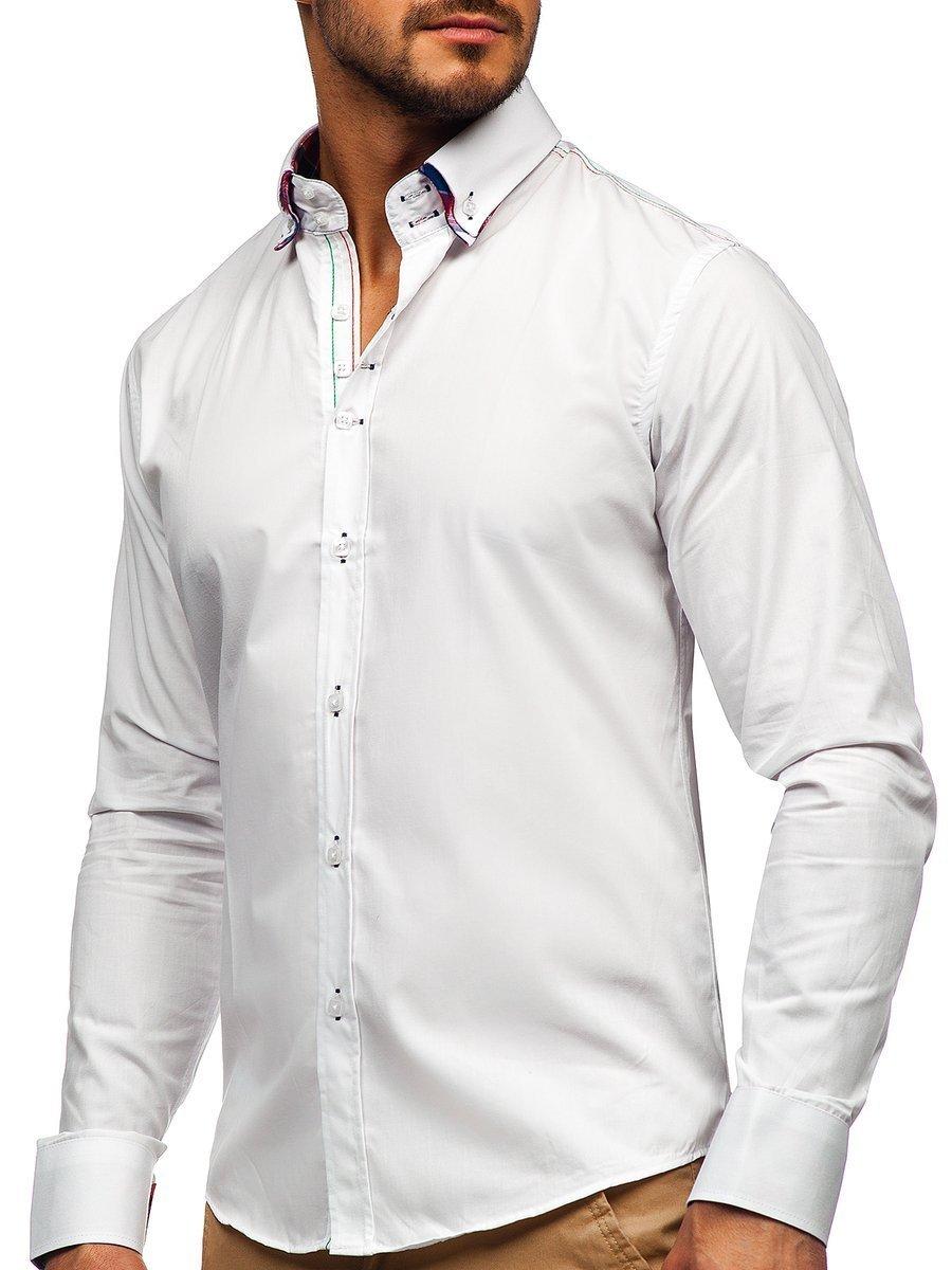 White Men's Elegant Long Sleeve Shirt Bolf 2705