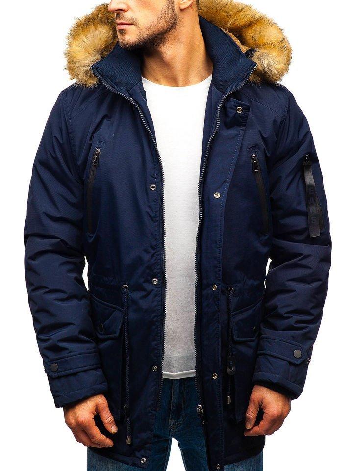 Men's Winter Parka Jacket Navy Blue Bolf R102