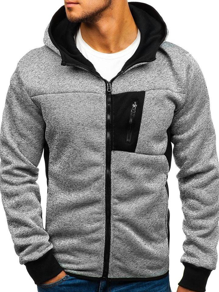 Men's Zip Hoodie Grey Bolf AK39