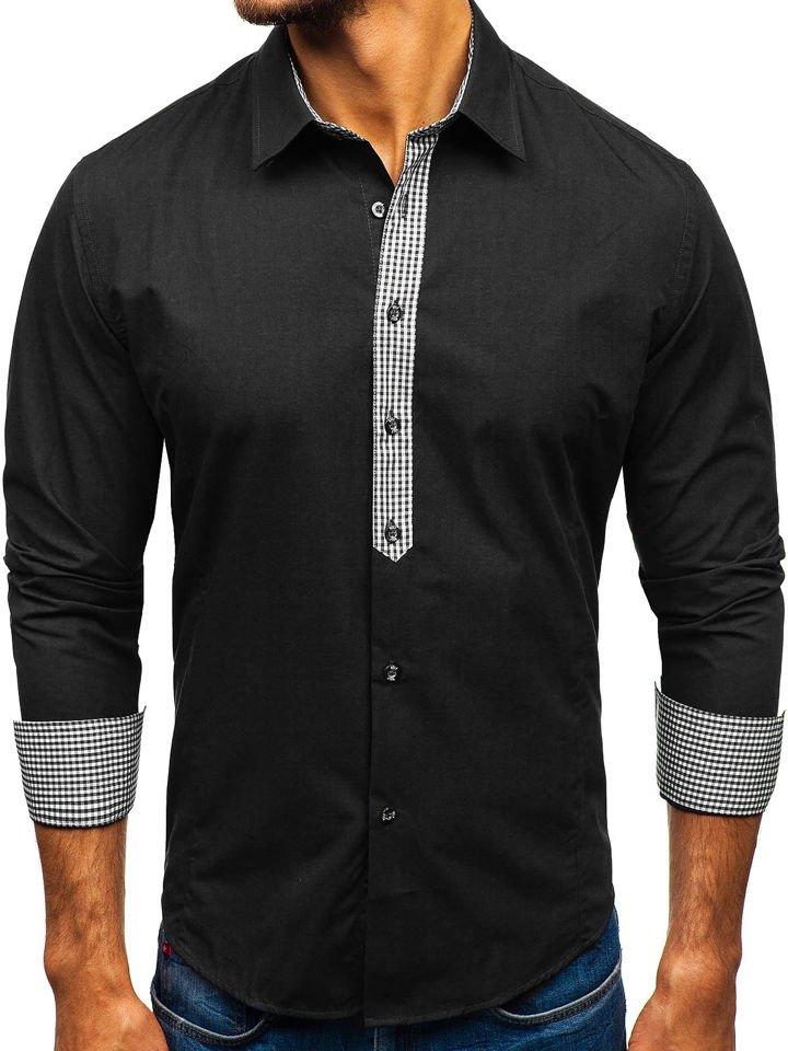 Black Men's Elegant Long Sleeve Shirt Bolf 0939