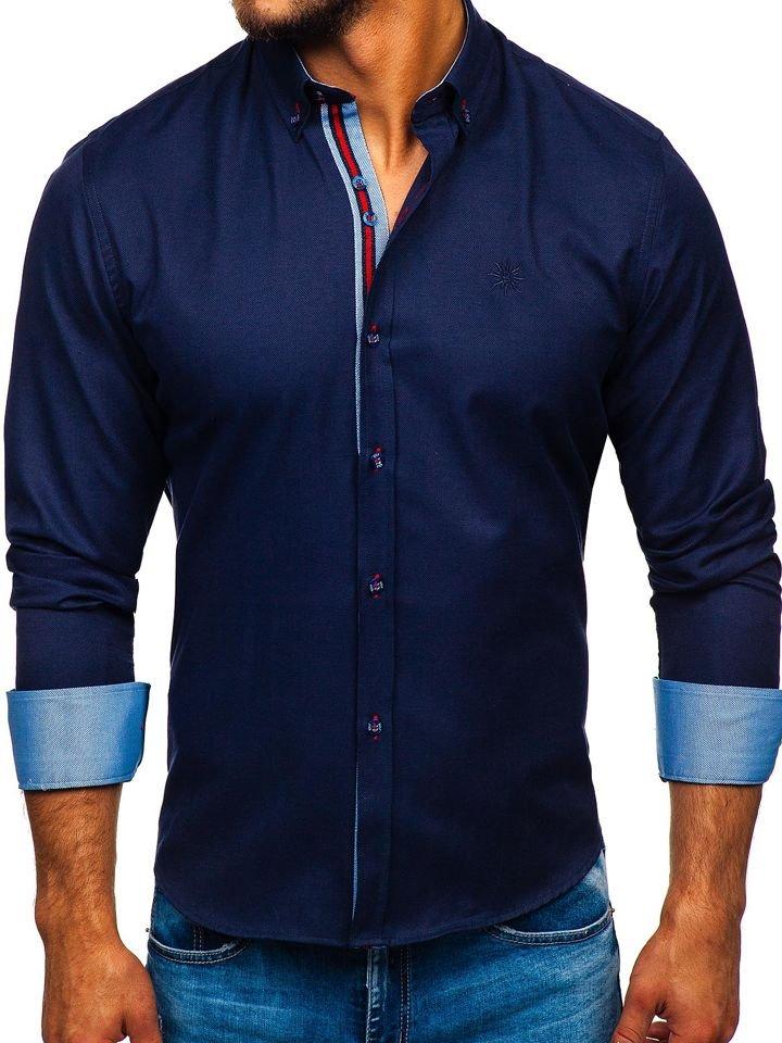 Men's Elegant Long Sleeve Shirt Navy Blue Bolf 5801-A