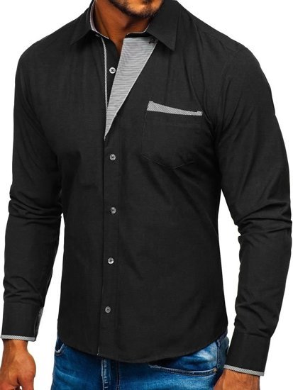 Black Men's Elegant Long Sleeve Shirt Bolf 4713