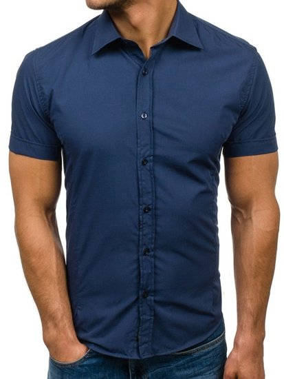 Menu0027s Elegant Short Sleeve Shirt Light Navy Blue Bolf 7501 JASNY GRANAT