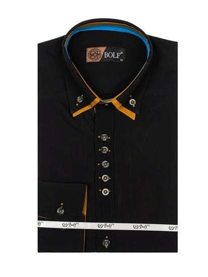 Men's Elegant Long Sleeve Shirt Black Bolf 3708