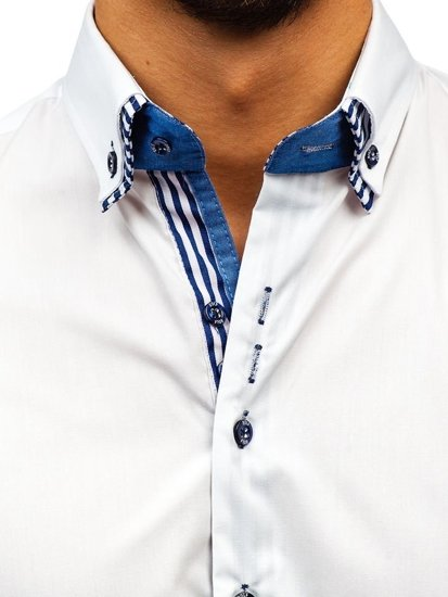 Men's Elegant Long Sleeve Shirt White Bolf 4703