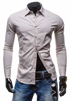 Beige Men's Elegant Long Sleeve Shirt Bolf 7178