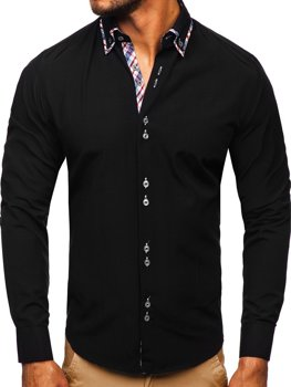 Black Men's Elegant Long Sleeve Shirt Bolf 4704