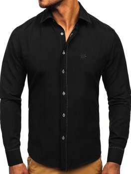 Black Men's Elegant Long Sleeve Shirt Bolf 4719