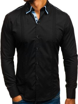 Black Men's Elegant Long Sleeve Shirt Bolf 4780