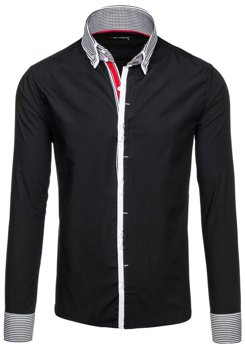 Black Men's Elegant Long Sleeve Shirt Bolf 5727