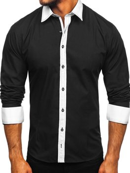 Black Men's Elegant Long Sleeve Shirt Bolf 6882