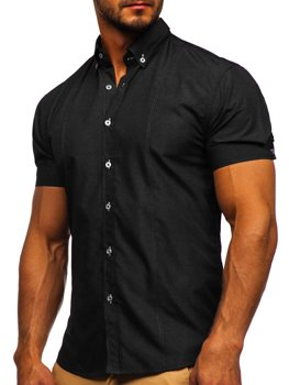 Black Men's Elegant Shirt Sleeve Shirt Bolf 5535