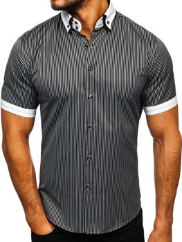 Black Men's Striped Short Sleeve Shirt Bolf 1808