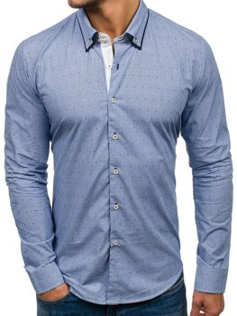 Blue Men's Elegant Long Sleeve Shirt Bolf 9658