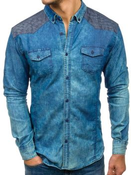 Blue Men's Patterned Denim Long Sleeve Shirt Bolf 0517-1