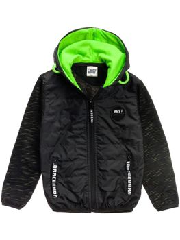 Boy's Transitional Hooded Jacket Black Bolf HB1873
