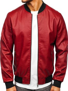 Claret Men's Leather Bomber Jacket Bolf 1147