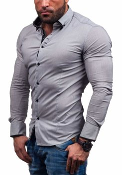 Grey Men's Elegant Long Sleeve Shirt Bolf 7188