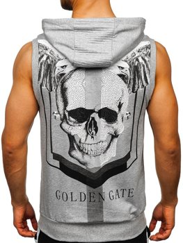 Grey Men's Zip Printed Tank Top with a Hood Bolf KS7362