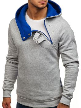 Grey-Royal Blue Men's Hoodie Bolf 06S
