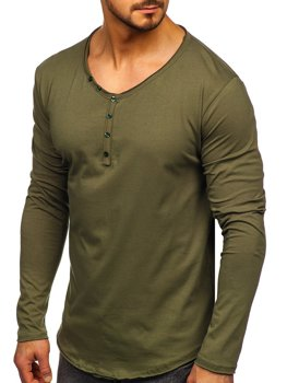Khaki Men's Plain Long Sleeve Top Bolf 5059