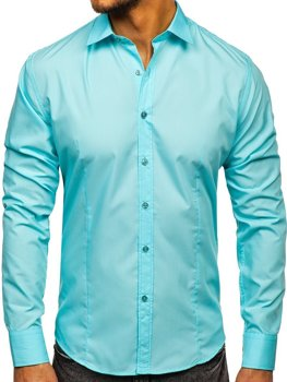 Light Green Men's Elegant Long Sleeve Shirt Bolf 1703