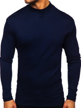 Men's Basic Half Turtleneck Jumper Navy Blue Bolf 145348