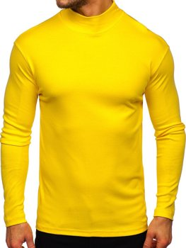Men's Basic Half Turtleneck Jumper Yellow Bolf 145348