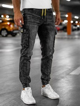 Men's Cargo Denim Joggers Black Bolf HY686