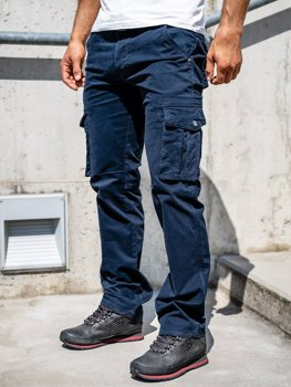 Men's Cargo Pants with Belt Navy Blue Bolf 1672