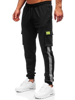 Men's Cargo Sweatpants Black Bolf HY867