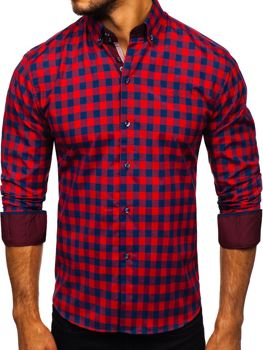 Men's Checked Long Sleeve Shirt Red Bolf 4701