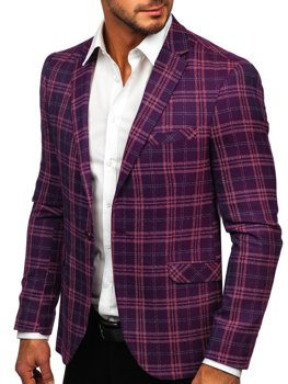 Men's Checkered Casual Blazer Violet Bolf 8080