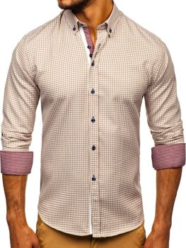 Men's Checkered Long Sleeve Shirt Beige Bolf 9715