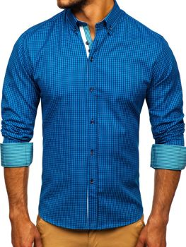 Men's Checkered Long Sleeve Shirt Blue Bolf 9715