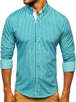 Men's Checkered Long Sleeve Shirt Green Bolf 9712