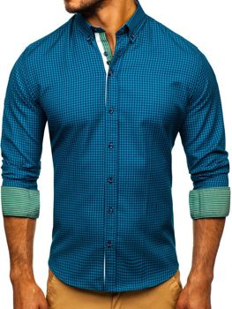 Men's Checkered Long Sleeve Shirt Green Bolf 9715