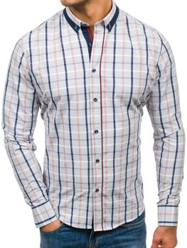 Men's Checkered Long Sleeve Shirt Grey Bolf 8809