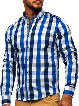 Men's Checkered Long Sleeve Shirt Navy Blue Bolf 2779