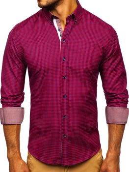 Men's Checkered Long Sleeve Shirt Red Bolf 9715